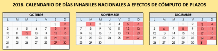 calendario días inhabiles